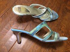 Mootsies Tootsies 10 Green Multi Color Slip On High Heel Sandal Leather /fabric