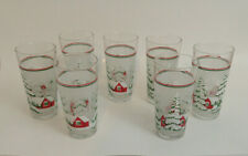 KIG 7 Retro Vintage Holiday Glasses Red Houses Snow Covered Trees Frosted