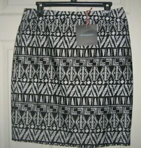 New CYNTHIA ROWLEY Career/Casual Skirt Size 10 Black & White Print NWT
