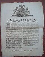 1748 BANDO DA TORINO SU SANITA' E FIERE DI SUSA E BUSSOLINO E SU PECETTO (AL)