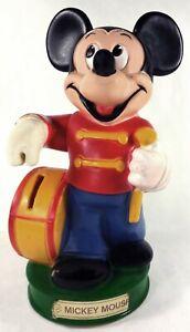 "1980's Walt Disney Mickey Mouse Animal Toys Plus 8.5""t Plastic Coin Piggy Bank"