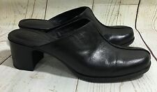 Clarks DUNHAM Black Leather Mules High Heels Slip-On Shoes Size 9M
