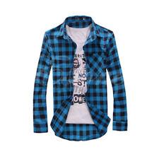 US Mens Plaid Flannel Lumberjack Tartan Check Shirt Brushed Cotton Casual Tops