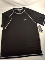 NWT Speedo Mens Short Sleeve T-Shirt Tee Crew Neck L Gray Sun Protection UV