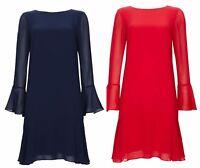 New Ex Wallis Red Blue Dress  Fluted Sleeve 8 10 12 14 16 18 20
