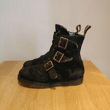 Dr Martens Blake Buckle Strap Black Suede Punk Biker Boots Size UK Size 5 RARE