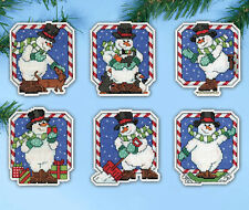 Cross Stitch Kit ~ Design Works Candy Cane Snowmen Christmas Ornaments #Dw5912