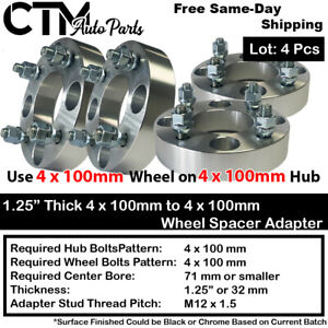 "4PC 1.25"" THICK 4x100mm TO 4x100mm WHEEL ADAPTER SPACER FIT HONDA TOYOTA&MORE"