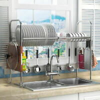 Kitchen Dish Drainer Rack Storage Drip Tray Sink Drying Bowl Draining Plate UK