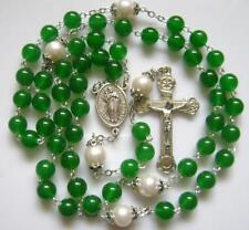 Green Jade & AAA10MM Pearl Beads cross rosary necklace CRUCIFIX CATHOLIC