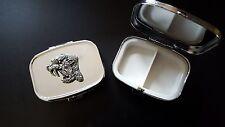 Sabre Tooth Cat TTP English Pewter Emblem on a Rectangular Travel Metal Pill Box
