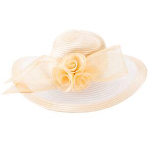 Womens Church Kentucky Derby Carriage Wedding Satin Ribbon Sinamay Race Hat A435