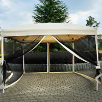 Outdoor Gazebo Canopy 10'x10' Pop Up Party Tent  Mesh Mosquito Net Patio Tan
