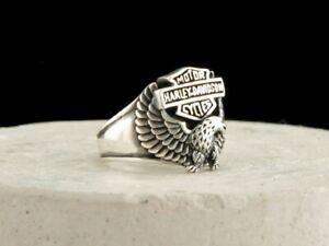 Eagle With Harley Davidson Emblem Ring 925 Sterling Silver Men's Ring 9