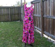 Vintage SUN FASHIONS Mod Hot Pink Green Floral Hawaiian Luai Maxi Dress 12