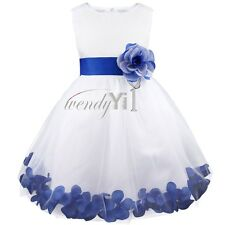 Flower Girl Dress Bridesmaid White Rose Petal Birthday Recital Pageant Easter