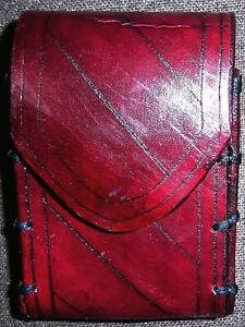 Jedi Knight XSmall Diagonal Line Carved Oxblood Red Comm Handmade Leather Pouch