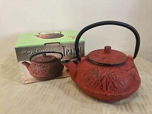 Old Dutch International 1012RD Red Cast Iron Osaka Teapot 20 Oz. Tetsubin