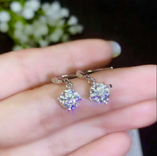 14K White Gold Finish 2Ct Round Attractive Cut Moissanite Drop & Dangle Earrings