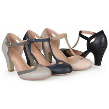 Brinley Co. Womens Standard And Wide-Width T-strap Two-tone Mary Jane Pumps New