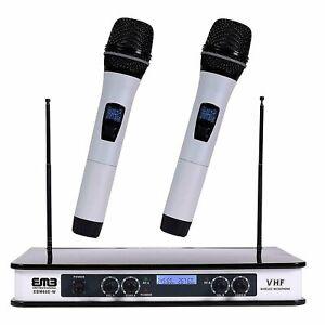 EMB Dual HandHeld Microphone System/Digital Display for Church, Karaoke w/ Echo