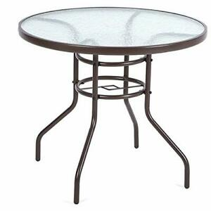 Round 4 Seater Patio Table Steel 80cm