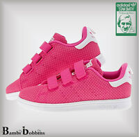 Adidas Originals Pink Stan Smith Girl Knit Trainers Child Kid UK Size 10 11 12