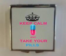Pill Box/Case-Square Metal-Printed/Personalised. keep medication safe