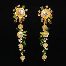 925 Sterling Silber Ohrringe Gelbgold beschichtet Perlmuttblumen Chrom Diopside