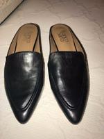 Franco Sarto SABELLA Black Leather Loafers Slides Slip on Shoes new