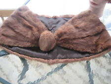 "#E6 Vintage Redish Brown Muskrat Fur Stole wraps 39""In Long"
