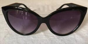 Womans Cat Eyes Black Frame Sunglasses Purple/Blue Lenses New
