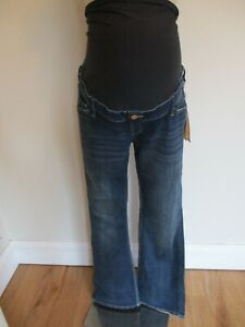 H&M MAMA MATERNITY BLUE OVER BUMP BOOTCUT JEANS SIZE 20 BNWT