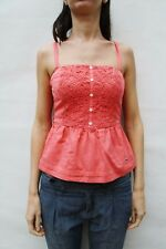 Hollister Top Shirt Coral Salmon Ruffle tank Top Tee Sleeveless S Small Gilet
