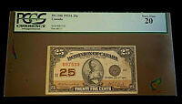 $.25 1923 Dominion of Canada Note • Serial #607539  Plate #H7/3 • PCGS  VF 20