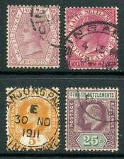 Malaysia Straits Settlements QV, EDVII Used Stamps x 4.