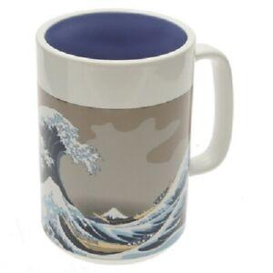 "Japanese Tea Coffee Cup Beer Mug 5""H Porcelain Grey Blue Dragonfly Made in Japan"