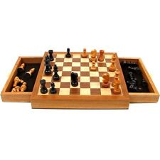 Elegant Chess Set + Cabinet + Staunton Wood Chessmen