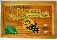 Rare Green Bay Packers Wood Clock 11 NFL Championships Oak Plaque 15x22
