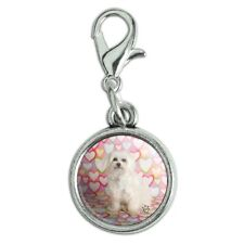 Maltese Puppy Dog Hearts Love Antiqued Bracelet Charm with Lobster Clasp