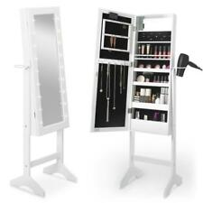 White LED Lit Standing Mirror Makeup Jewellery Organiser Cabinet Storage Armoire