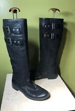 Nine West Womens Tumble Boots Tall Black leather Buckle Riding 7.5 Equestrian