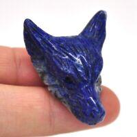 "1.5"" Wolf Head Pendant Lapis Lazuli Crystal Healing Gemstone Carving Necklace"