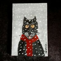 Black Cat and snow Original Miniature 6 in x 4 in acrylic painting on canvas