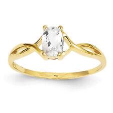 Anillos de joyería con gemas blancas de oro amarillo de 14 quilates