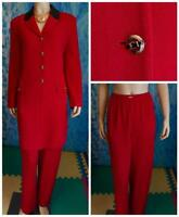 St. John Collection Knits Red Jacket Pants L 14 12 2pc Suit Buttons Black Trims