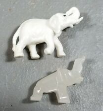 Vtg Elephant Figurines Carved White Stone Miniature Trunk Up Animal Figure
