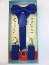 New Baby Toddler Kids Child Blue Suspenders Bow Tie Gift Box Set USA SELLER