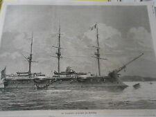 Gravure 1881 - Le Vaisseau cuirassé Le Richelieu