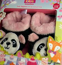 💕 BNWT Totes Toasties Baby Slippers, Panda, Non Slip Tread, Age 6-12 Months